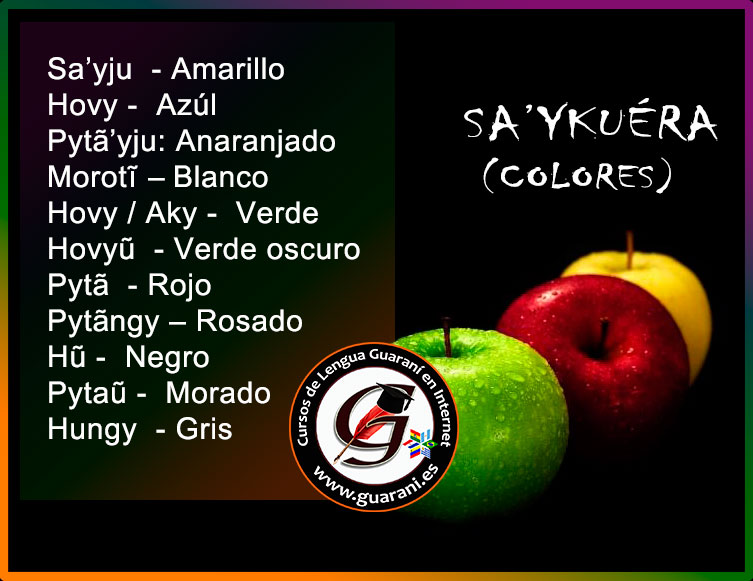 Los colores en guaraní – Sa\'ykuéra – Cursos de Idioma Guarani Online