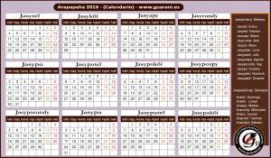 Calendario Guaraní - Arapapaha 2016